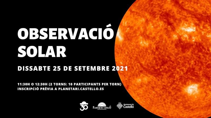 Imagen representativa de Observación Solar en el Planetari - Turno 11:30h